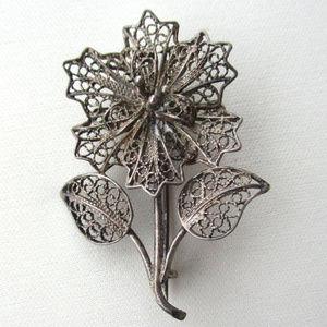 antique 800 silver filigree flower brooch pin